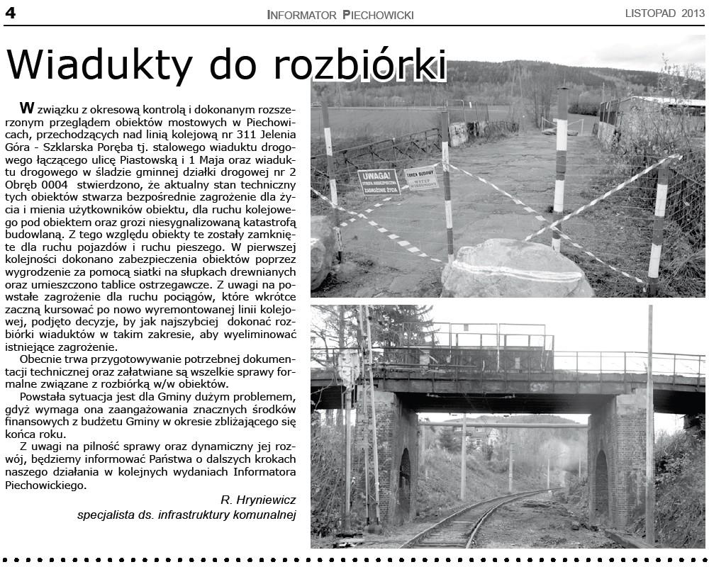 Informator Piechowicki Wiadukty do rozbiórki linia 311